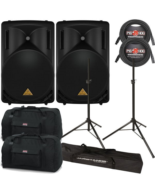 "Behinger B215D 2-Way Powered 15"" Speakers Pair & Cables, Stands +Bags"
