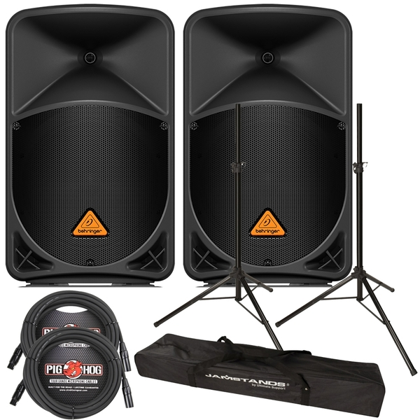 Behringer Eurolive B112D PA Speaker Pair with Stands and Cables