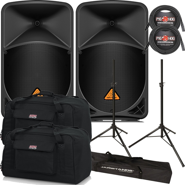 Behringer Eurolive B112D Active PA Speaker Pair with Stands, Cables, and Tote Bags