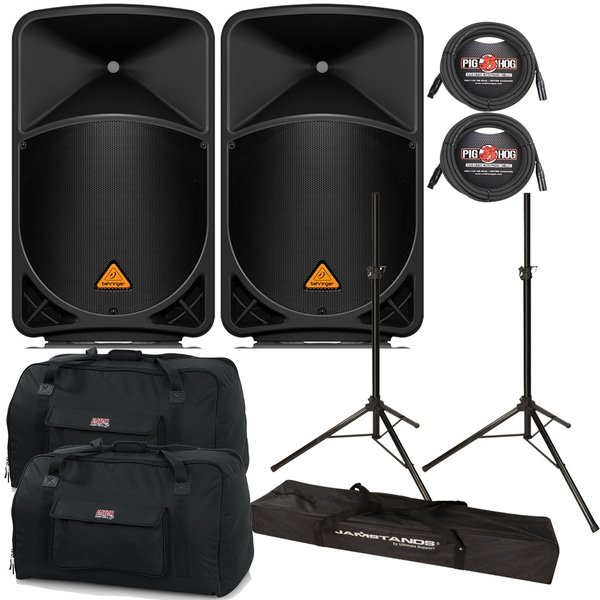 Behringer Eurolive B115W Powered Speaker Pair with Stands, Cables, and Tote Bags