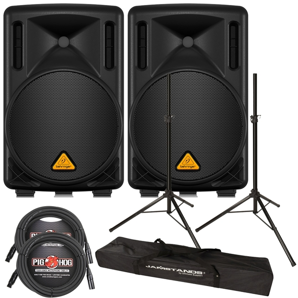 Behringer Eurolive B210D 2-Way Active Speaker Pair with Stands and Cables