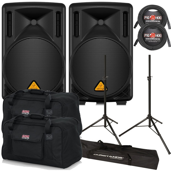 Behringer Eurolive B210D Active PA Speaker Pair with Stands, Cables, and Carry Bags