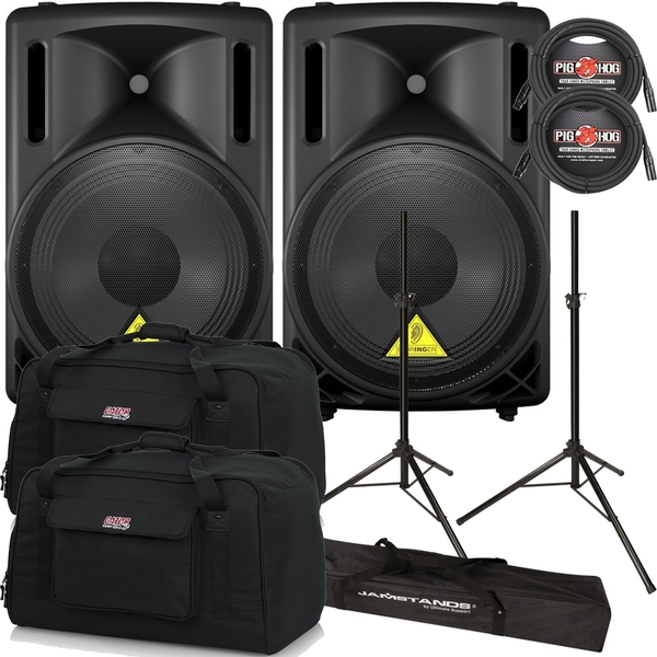 Behringer Eurolive B212D Active PA Speaker Pair with Stands, Cables, and Tote Bags