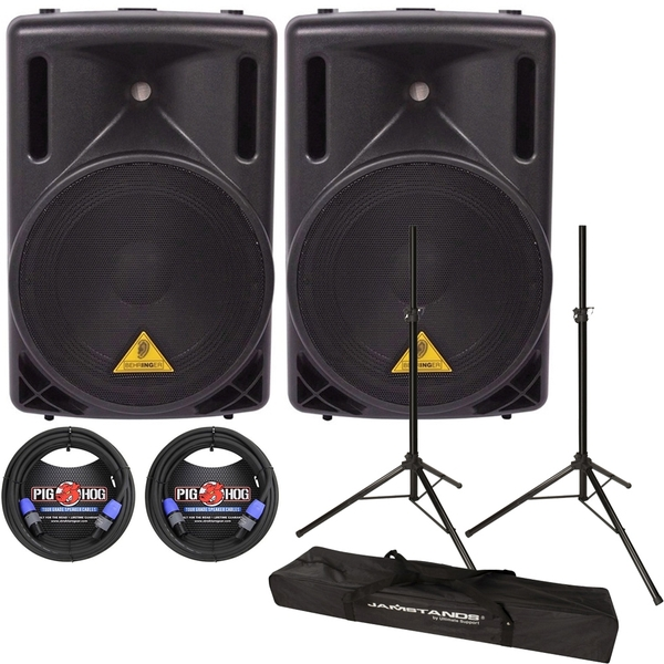 Behringer Eurolive B212XL PA Passive Speaker Pair with Stands and speakON Cables