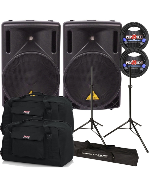 Behringer Eurolive B212XL Passive PA Speaker Pair with Stands, speakON Cables, and Tote Bags