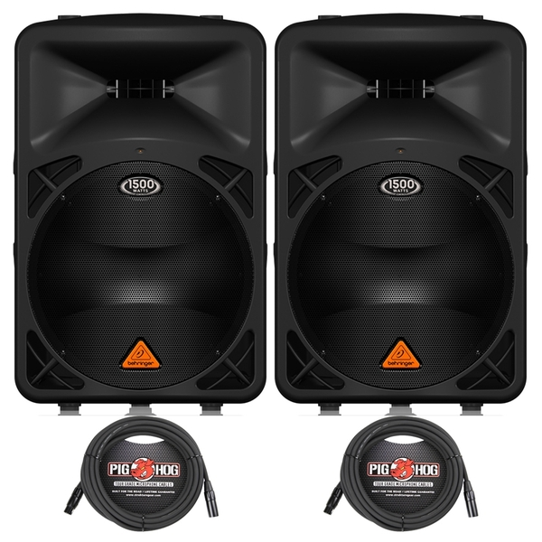 Behringer Eurolive B615D Active 2-Way 1500-Watt PA Speaker Pair with (2) 20 ft XLR Cables
