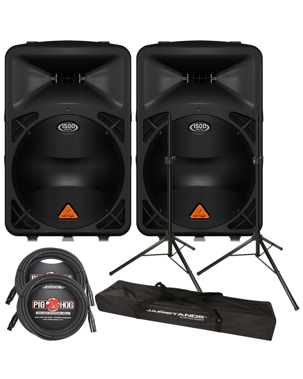 Behringer Eurolive B615D Active 2-Way 1500-Watt PA Speaker Pair with Stands and Cables