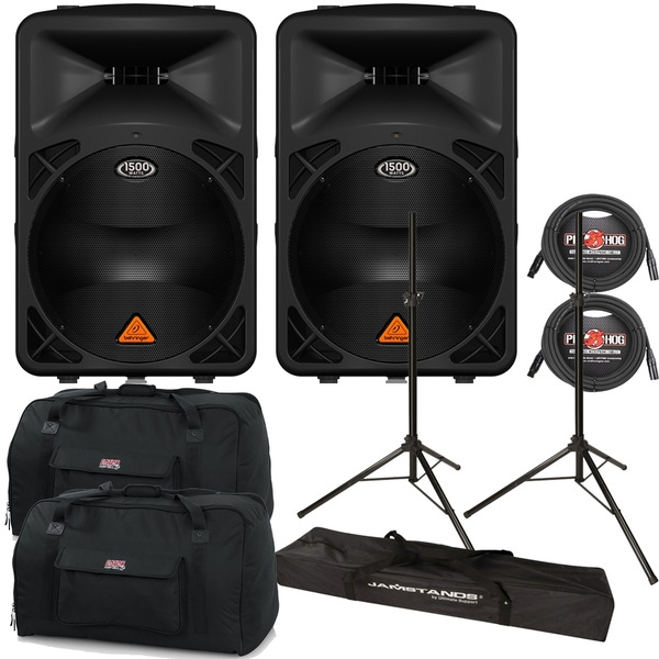 Behringer Eurolive B615D Powered Speaker Pair with Stands, Cables, and Tote Bags