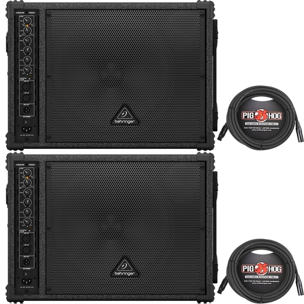 Behringer Eurolive F1220D Bi-Amped 250-Watt Monitor Speaker Pair with (2) 20 ft XLR Cables