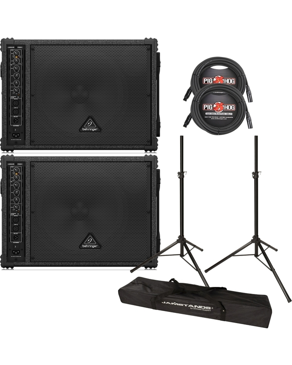Behringer Eurolive F1220D Bi-Amped Speaker Pair with Stands and XLR Cables
