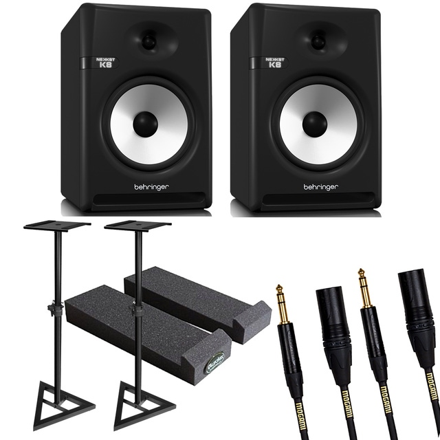 """Behringer NEKKST K8 Bi-Amped 8"""" Studio Monitor Pair with Stands, Isolation Pads, and Mogami Cables"""