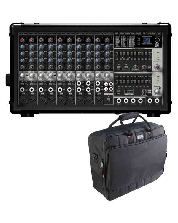Behringer EUROPOWER PMP2000 14-Ch Powered Multi-Effects Mixer with Gator Mixer Bag
