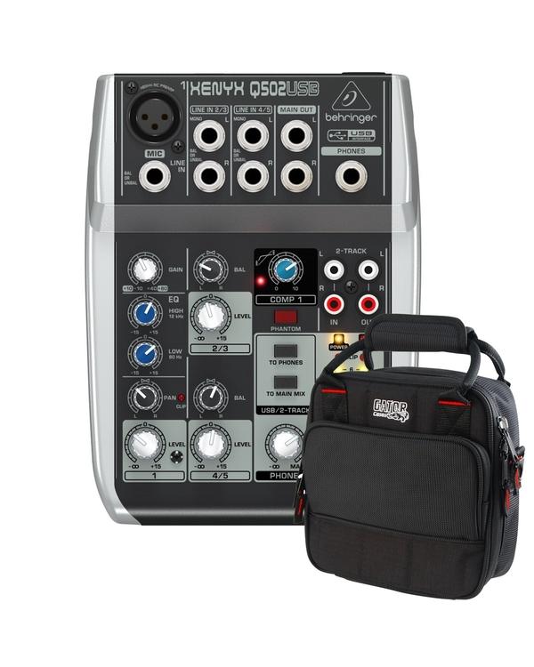 Behringer Xenyx Q502USB 5-Input 2-Bus Mixer and Audio Interface with Gator Mixer Bag