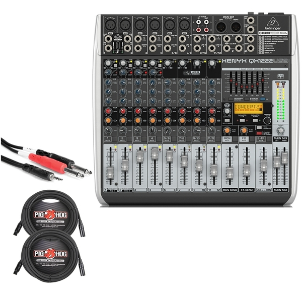 Behringer Xenyx QX1222USB 16-Input USB Mixer with XLR and Stereo Breakout Cables
