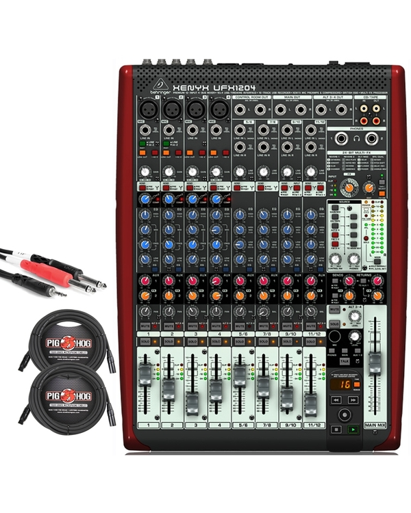 Behringer Xenyx UFX1204 12-Input 4-Bus Mixer with XLR and Stereo Breakout Cables
