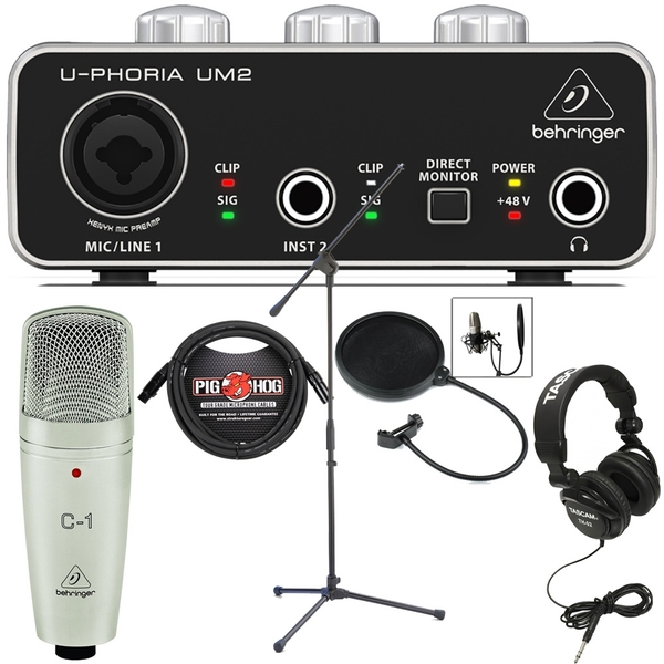 Behringer UM2 USB Interface Recording Bundle with C1 Microphone