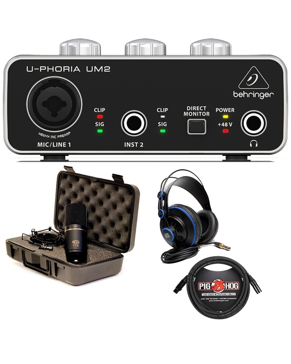 Behringer UM2 USB Interface Recording Bundle with MXL 770 Microphone