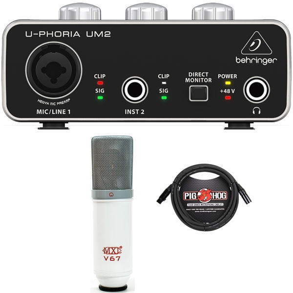 Home Recording Studio Bundle with Behringer UM2 Interface and MXL V67 Limited Edition Microphone