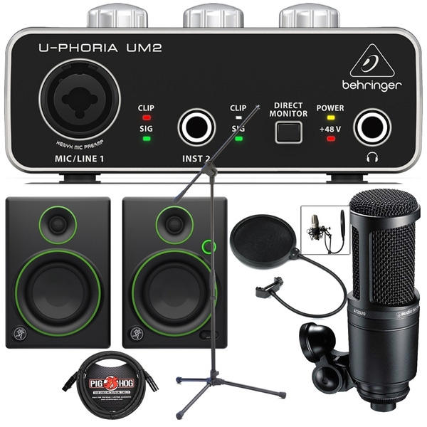 Behringer UM2 USB Interface Recording Bundle with Audio-Technica AT-2020 Microphone and Mackie Monitors