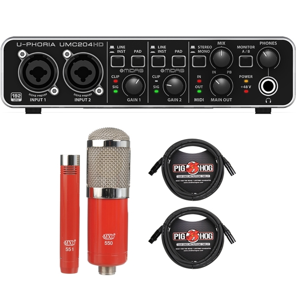 Behringer U-PHORIA UMC204HD USB Audio Interface with MXL Microphone Set and XLR Cables