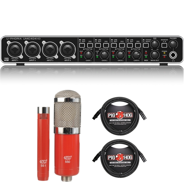 Behringer U-PHORIA UMC404HD USB Audio/MIDI Interface with MXL Microphone Set and XLR Cables