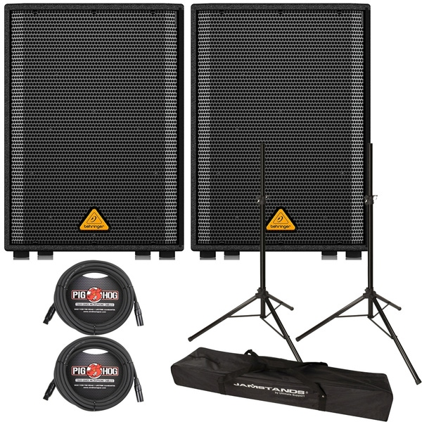 Behringer Eurolive VP1220D 550-Watt Powered PA Speaker Pair with Stands and Cables