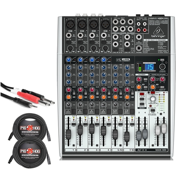 Behringer Xenyx X1204USB 12-Input USB Mixer with XLR and Stereo Breakout Cables