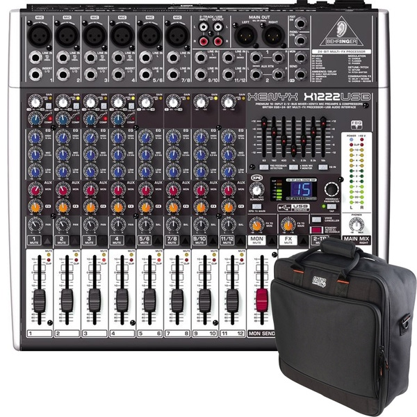 Behringer Xenyx X1222USB 12-Channel USB PA Mixer with Gator G-MIXERBAG-1515 Mixer/Gear Bag