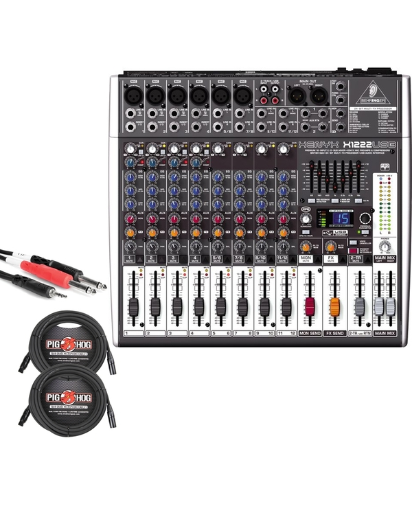 Behringer Xenyx X1222USB 16-Input USB Mixer with XLR and Stereo Breakout Cables