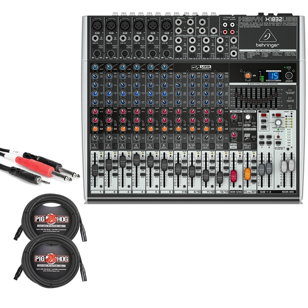 Behringer Xenyx X1832USB 18-Input USB Mixer with XLR and Stereo Breakout Cables