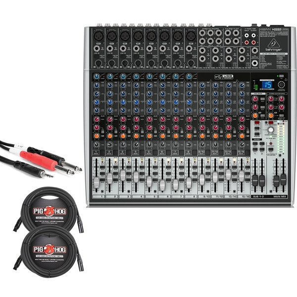 Behringer Xenyx X2222USB 22-Input USB Mixer with XLR and Stereo Breakout Cables
