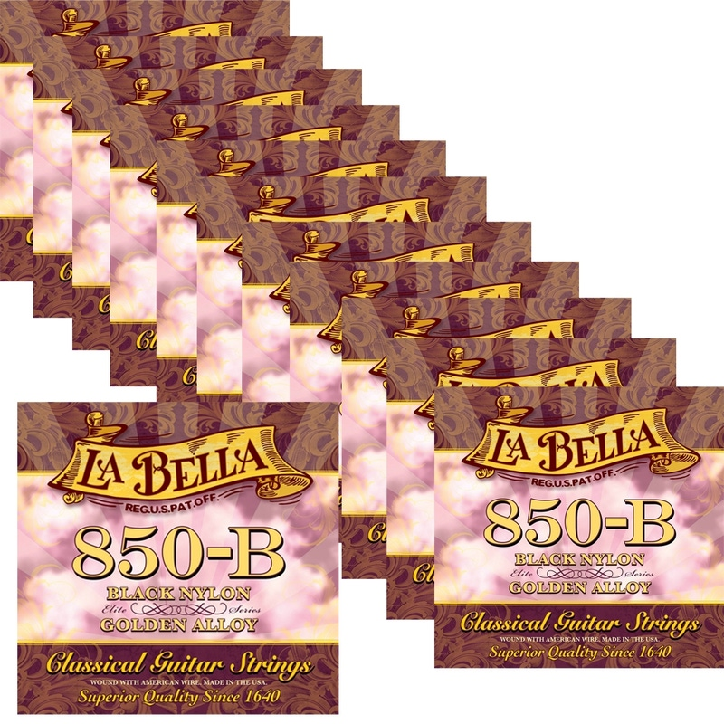 12 Sets of La Bella 850B Black Nylon Elite Series Golden Alloy Classical Guitar Strings, Medium (28-41)
