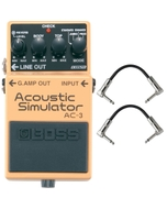 BOSS AC-3 Acoustic Guitar Modeling Simulator Effects Pedal with Patch Cables