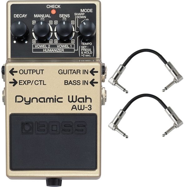 BOSS AW-3 Dynamic Wah Guitar Bass Effects Pedal with Patch Cables
