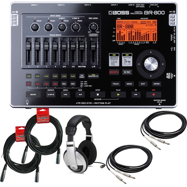 BOSS BR-800 Digital Recorder with Headphones and Cables