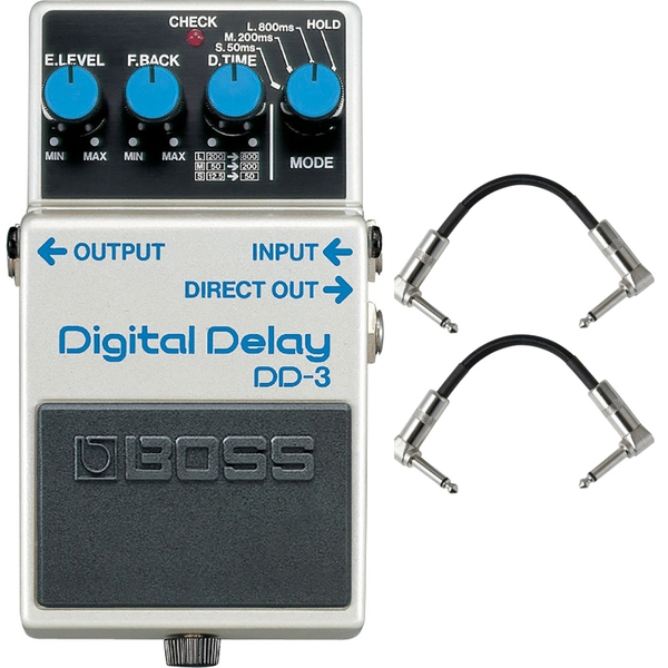 Boss DD-3 Digital Delay Pedal with Patch Cables