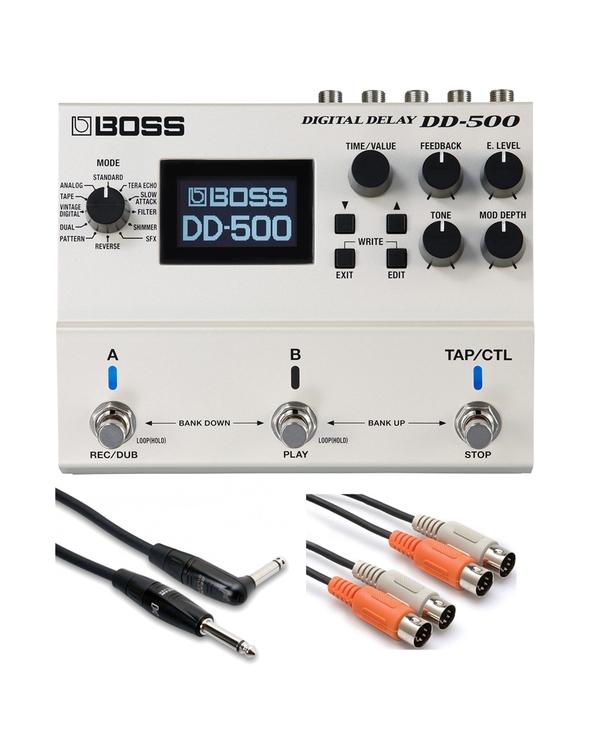 BOSS DD-500 Digital Delay with 20ft Guitar Cable and 10ft Dual MIDI Cable