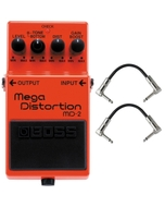 BOSS MD-2 Mega Distortion Guitar Effects Pedal with Patch Cables