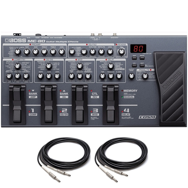 Boss ME-80 COSM Guitar Multiple Effects Processor with Instrument Cables