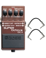 BOSS OC-3 Dual Super Octave Guitar Effects Pedal with Patch Cables