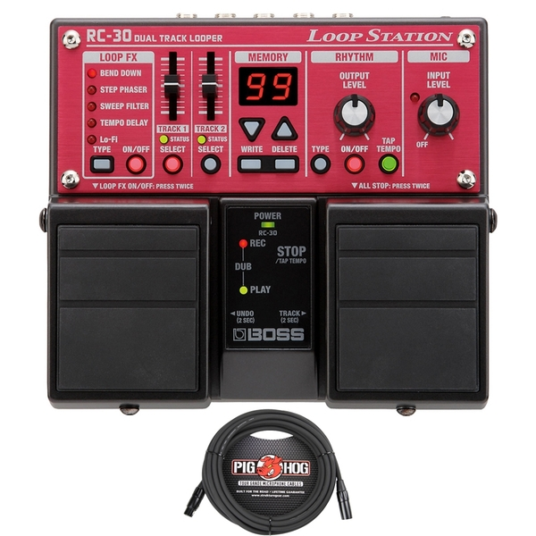 BOSS RC-30 Phrase Looper Pedal with Free 15' Pig Hog XLR Cable