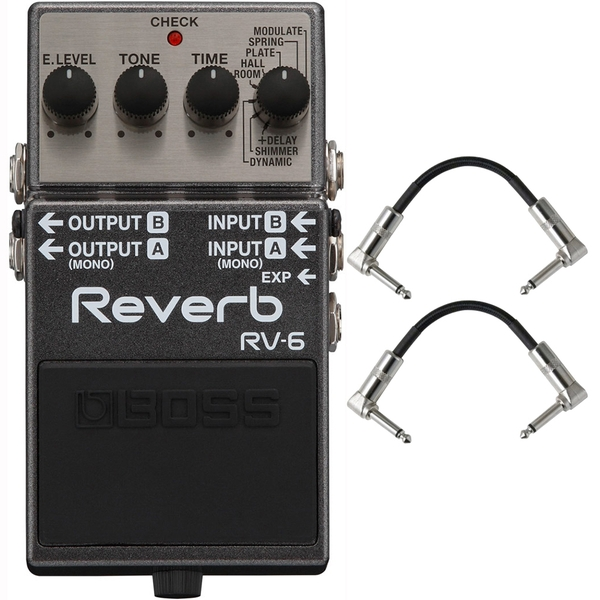 BOSS RV-6 Digital Reverb Guitar Effects Pedal with Patch Cables