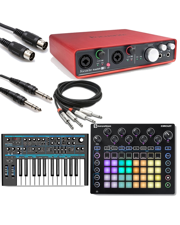Novation Bass Station II Analogue Synthesizer & Circuit Groove Box with Focusrite Scarlett 6i6 & Cables
