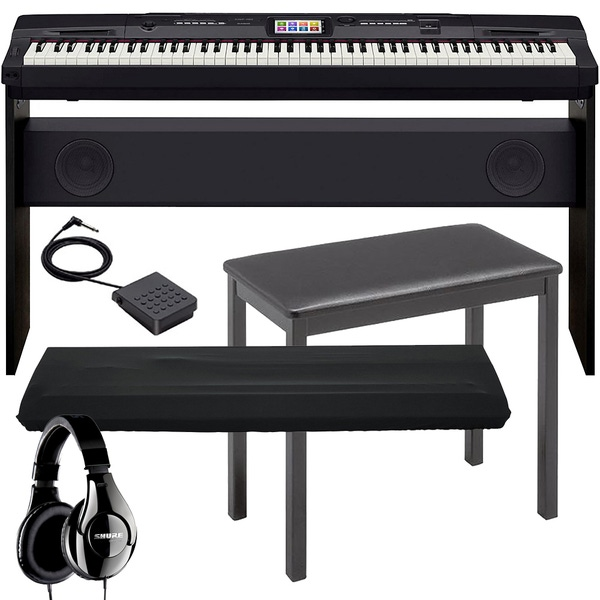 Casio CGP-700 Compact Grand Piano with Stand, Sustain Pedal, Dust Cover, Bench, & Shure Headphones