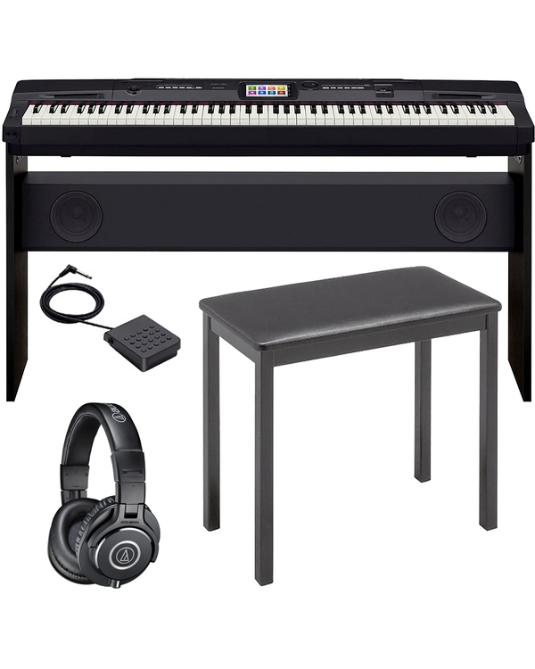 Casio CGP-700 Compact Grand Piano with Stand, Sustain Pedal, Bench, and M40X Headphones