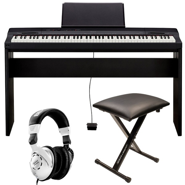 Casio Privia PX-160 Black Digital Piano with CS-67 Stand, Bench, and Headphones