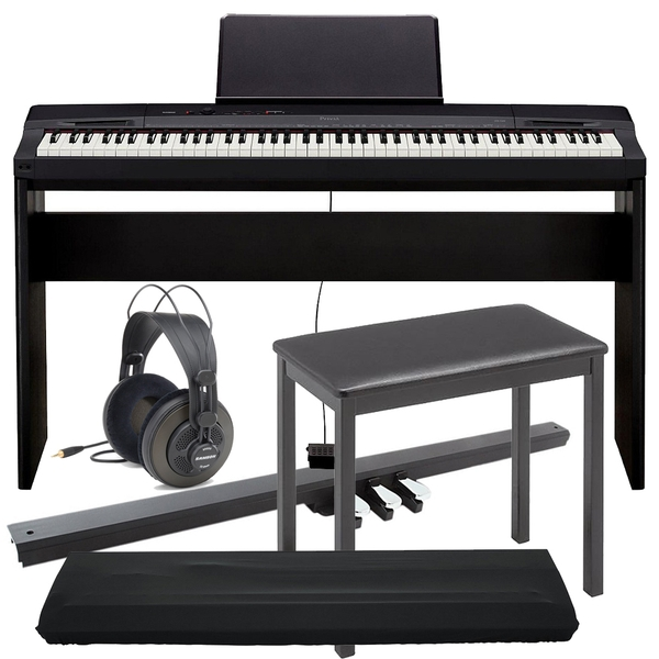 Casio Privia PX-160 88-Key Digital Piano, CS-67 Stand, SP33 3-Pedal Board, Bench, Dust Cover, & Samson Headphones Bundle