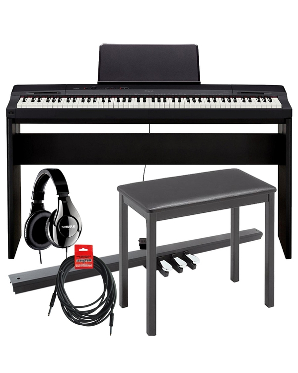 Casio Privia PX-160 88-Key Digital Piano, CS-67 Stand, SP33 3-Pedal Board, Bench, Cable, & Shure Headphones Bundle