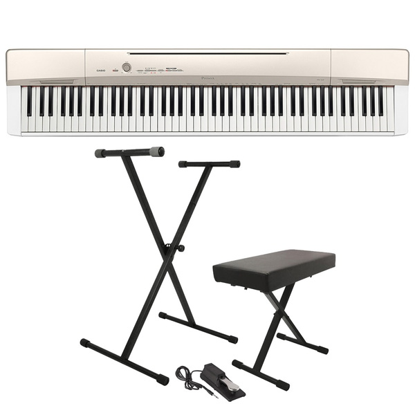 Casio Privia PX-160 88-Key Digital Piano Champagne Gold with Stand, Bench, & Sustain Pedal