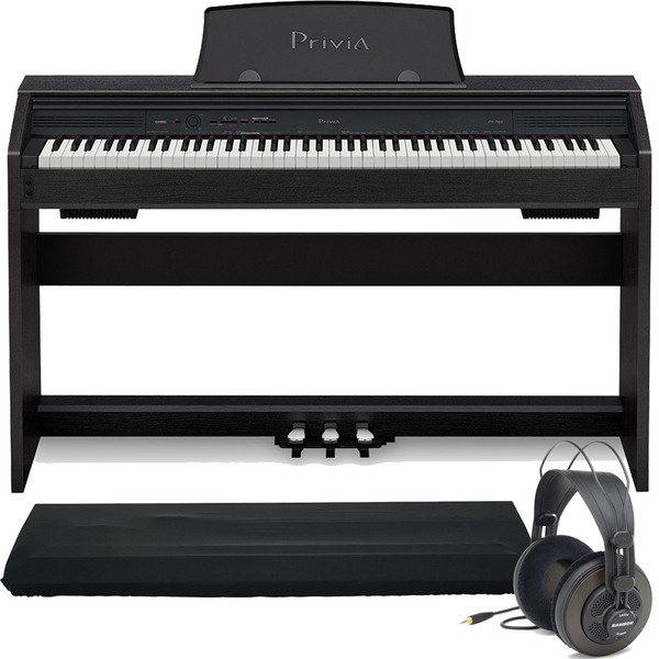 Casio Privia PX-760 88-Key Digital Piano Black with Dust Cover and Samson Headphones